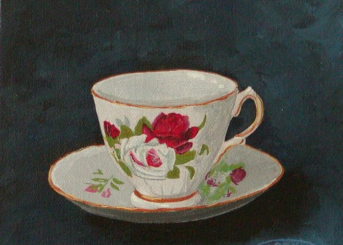 Rose Teacup And Saucer China Original Acrylic Greeting Card featuring the painting Rose Teacup by Sharon Steinhaus