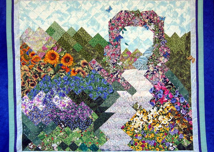 Rose Trellis Greeting Card featuring the tapestry - textile Rose Trellis Garden by Sarah Hornsby