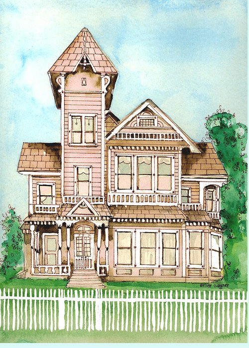Victorian Inn Greeting Card featuring the painting Rose Victorian Inn - Arroyo Grande Ca 1886 by Arline Wagner