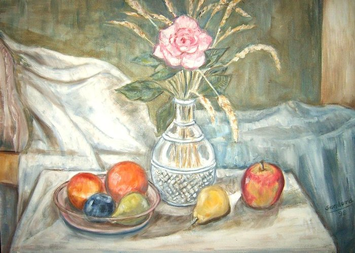 Still Life Fruit Rose Bottle Flowers Greeting Card featuring the painting Rose With Fruit by Joseph Sandora Jr