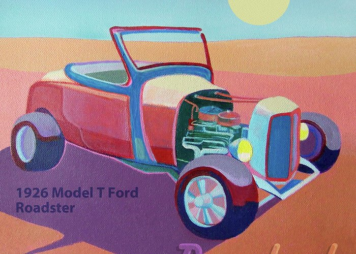 Ford Greeting Card featuring the digital art Rosebud Model T Roadster by Evie Cook