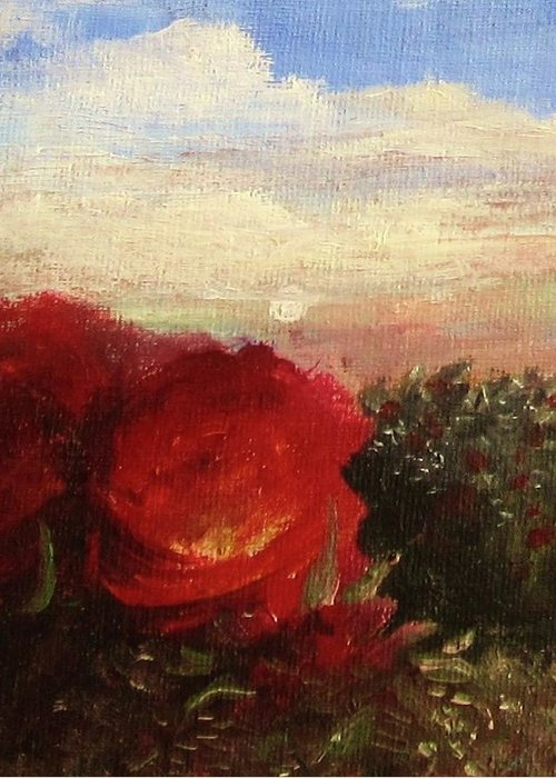 Original Oil Painting Greeting Card featuring the painting Rosebush by Mary Ellen Frazee