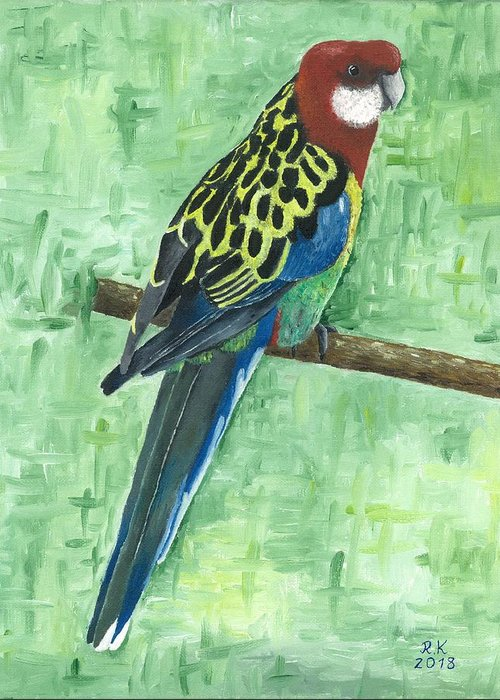 Rosella Greeting Card featuring the painting Rosella by Rainer Kravets