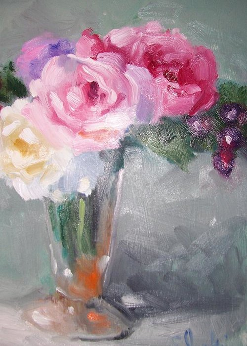 Stillife Greeting Card featuring the painting Roses And Berries by Susan Jenkins