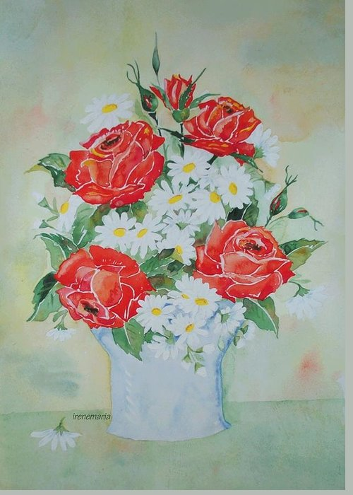 Roses Flowers Greeting Card featuring the painting Roses And Daises by Irenemaria