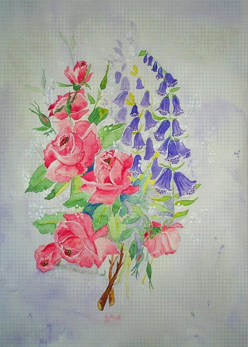 Roses Flowers Greeting Card featuring the painting Roses And Digitalis by Irenemaria