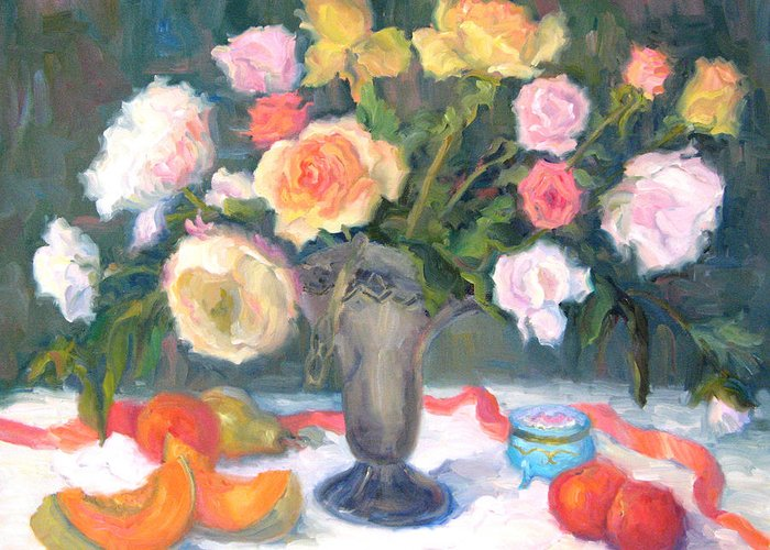 Roses Greeting Card featuring the painting Roses And Fruit by Bunny Oliver