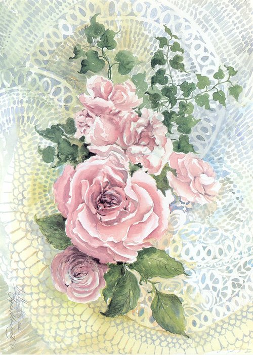 Roses;pink Roses;ivy;lace;floral; Greeting Card featuring the painting Roses and Lace by Lois Mountz