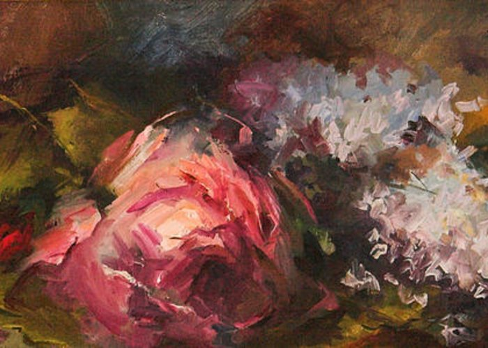 Floral Arrangements Greeting Card featuring the painting Roses And Lilacs by Blake Originals - Marjorie and Beverly
