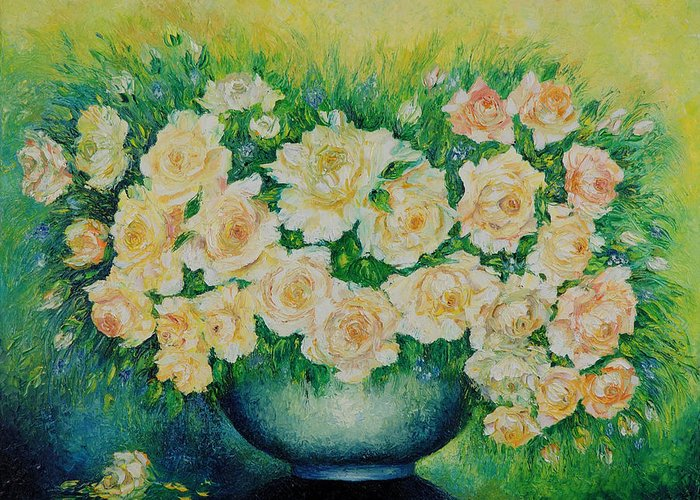 Painting Greeting Card featuring the painting Roses. by Evgenia Davidov