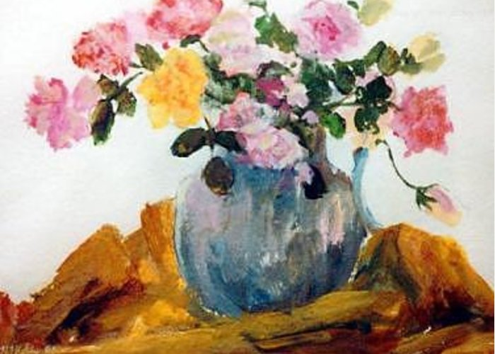 Rose Flower Vase Greeting Card featuring the painting Roses by Helen Hickey