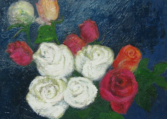 Roses Greeting Card featuring the painting Roses I by Meihua Lu