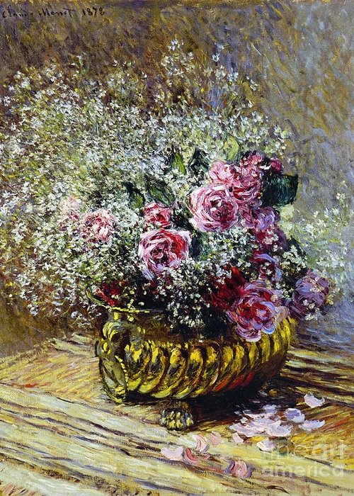 Roses In A Copper Vase Greeting Card featuring the painting Roses In A Copper Vase by Claude Monet
