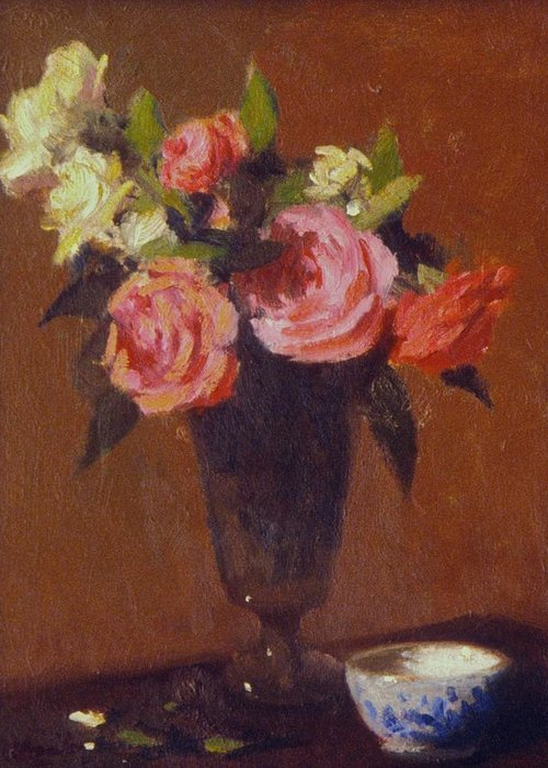 Flower Impression Roses In Glass Jar Greeting Card featuring the painting Roses In A Glass Impression by David Olander