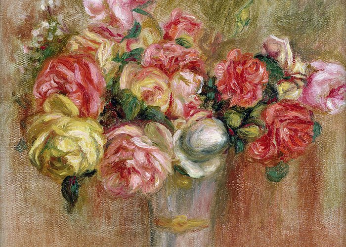 Roses Greeting Card featuring the painting Roses In A Sevres Vase by Pierre Auguste Renoir
