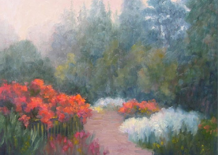 Roses Greeting Card featuring the painting Roses In The Mist by Bunny Oliver
