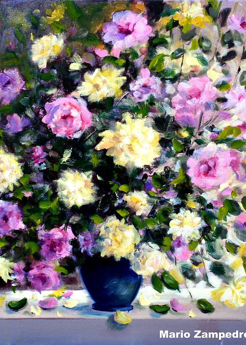 Roses Greeting Card featuring the painting Roses by Mario Zampedroni