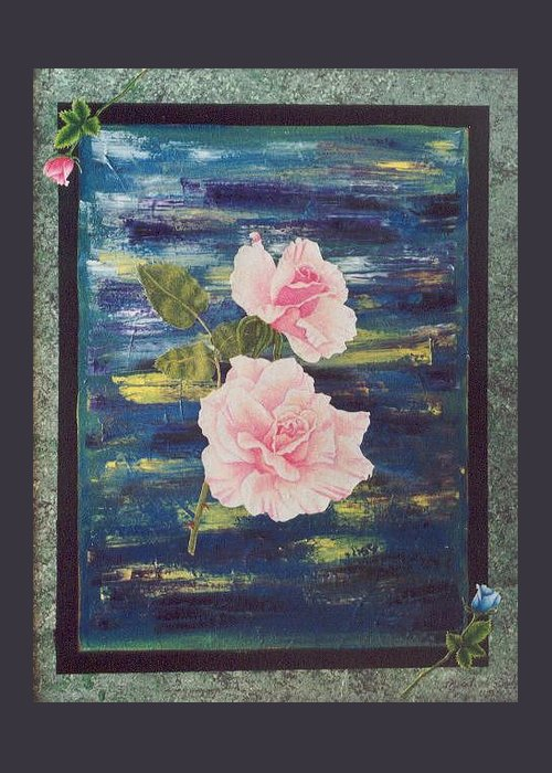 Rose Greeting Card featuring the painting Roses by Micah Guenther