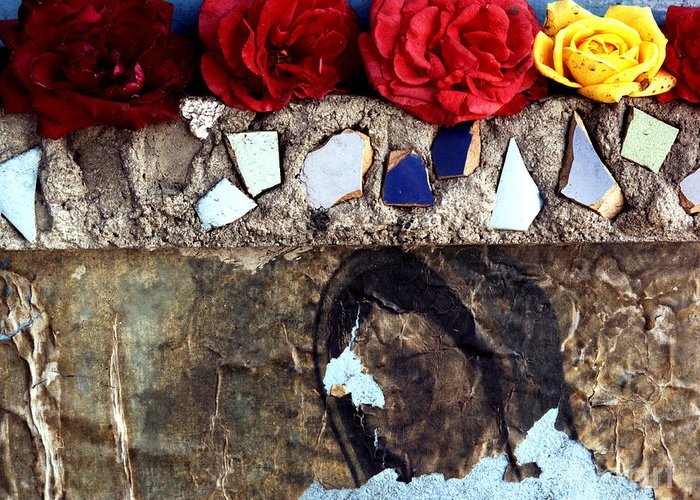 Virgin_mary Greeting Card featuring the photograph Roses On A Shrine by Lawrence Costales