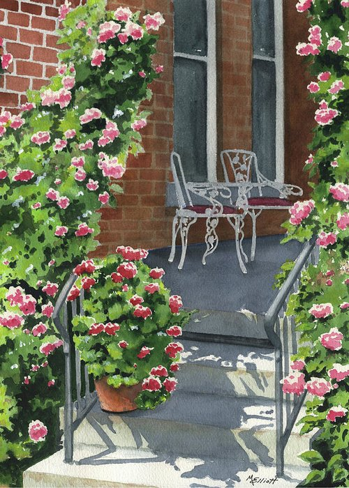 Roses Greeting Card featuring the painting Roses On High St by Marsha Elliott
