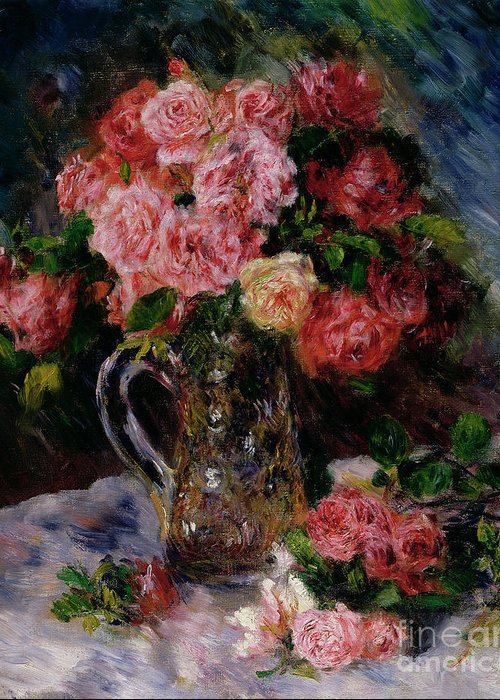Roses Greeting Card featuring the painting Roses by Pierre Auguste Renoir