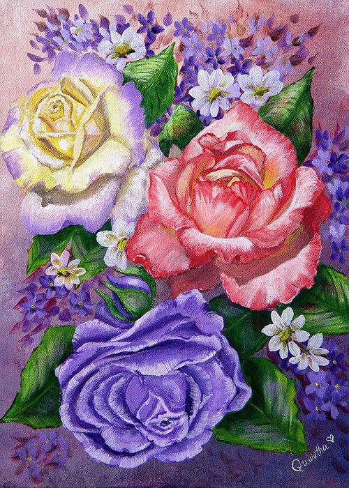 Rose Greeting Card featuring the painting Roses by Quwatha Valentine