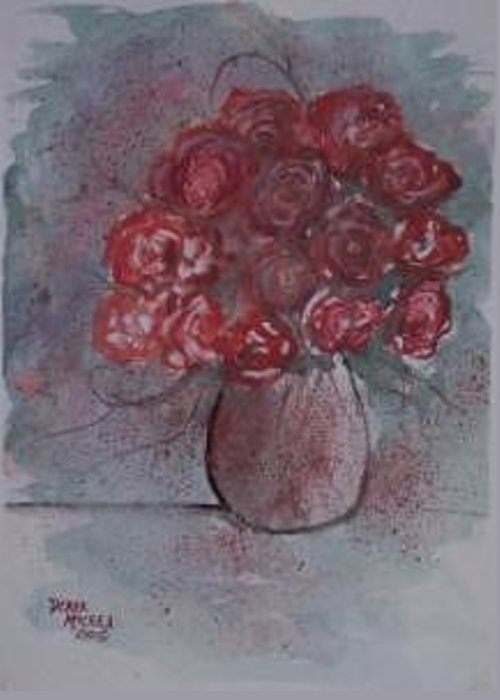 Watercolor Greeting Card featuring the painting ROSES still life watercolor floral painting poster print by Derek Mccrea