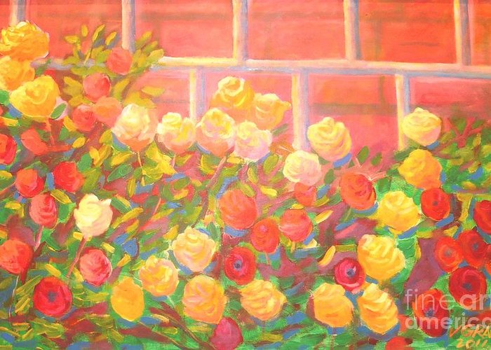 Rose Garden Greeting Card featuring the painting Roses The Gift Of Lovers. by Arnold Grace