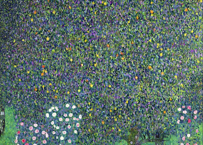 Roses Greeting Card featuring the painting Roses Under The Trees by Gustav Klimt