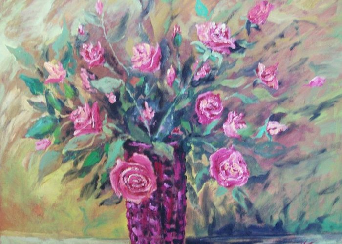Flowers Painting Greeting Card featuring the painting Roses by Vladimir Domnicev