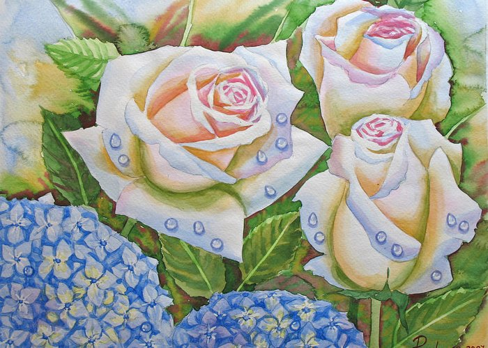 Flowers Greeting Card featuring the painting Roses.2007 by Natalia Piacheva