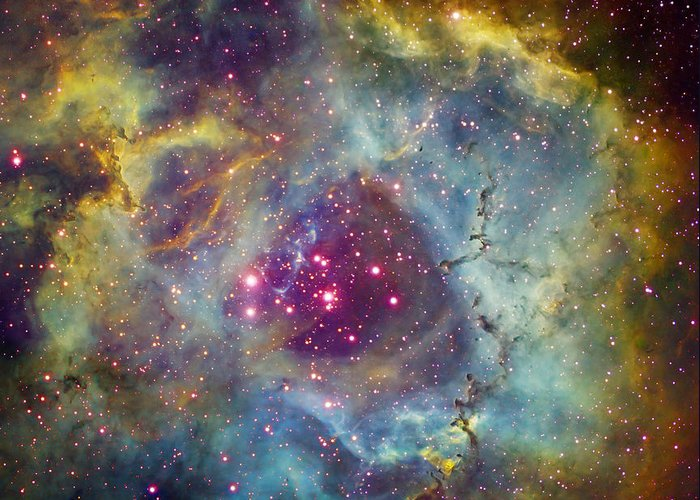 Astronomy Greeting Card featuring the photograph Rosette Nebula Ngc 2244 In Monoceros by Filipe Alves