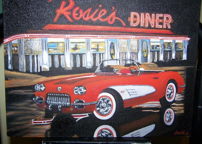 Cars Greeting Card featuring the painting Rosie by Charles Vaughn