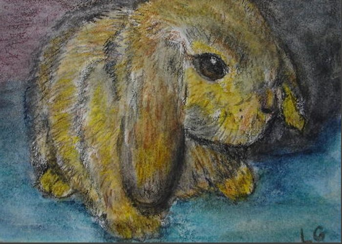 Bunny Greeting Card featuring the painting Rosie by Lessandra Grimley