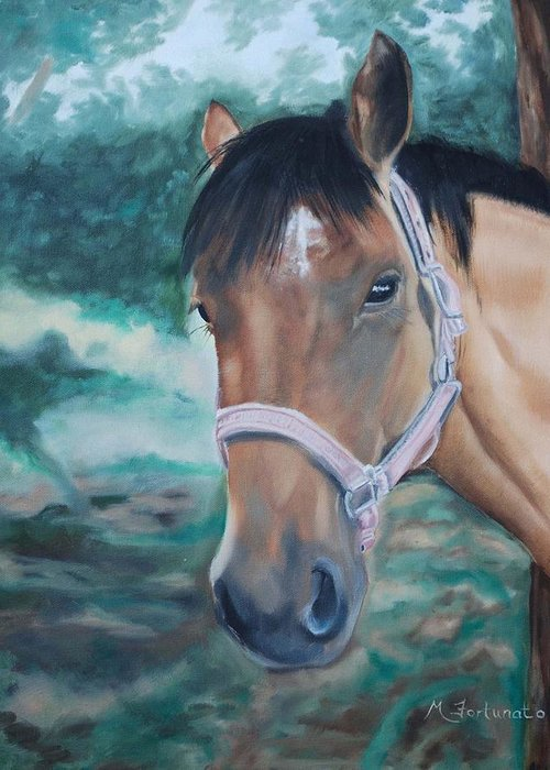 Horse Greeting Card featuring the painting Rosie by Margaret Fortunato