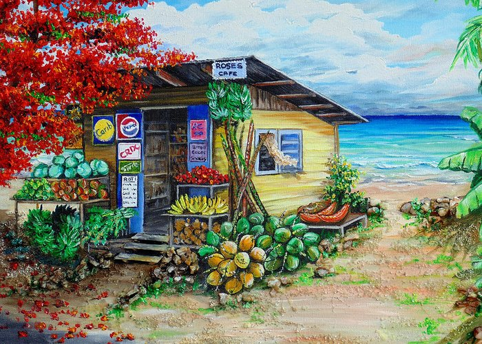 Beach Cafe Greeting Card featuring the painting Rosies Beach Cafe by Karin Dawn Kelshall- Best