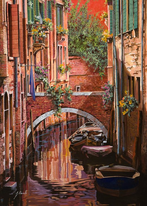 Venice Greeting Card featuring the painting Rosso Veneziano by Guido Borelli