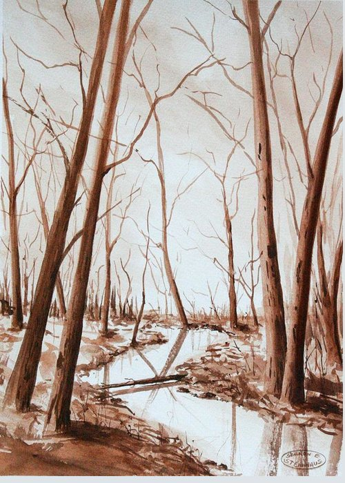 Sepia Watercolour Of Trees Greeting Card featuring the painting Rotary Bog by Sharon Steinhaus