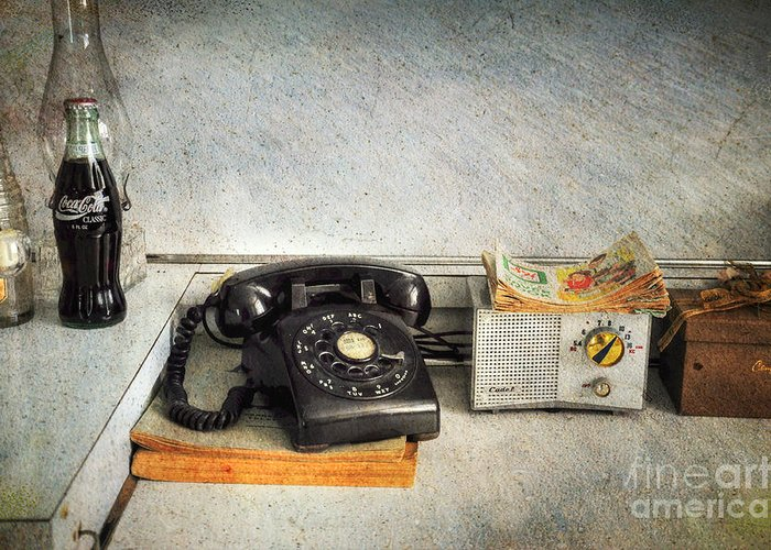 Telephone Greeting Card featuring the photograph Rotary Dial Phone In Black S And H Stamps by Paul Ward