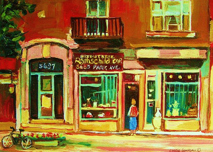 Montreal Greeting Card featuring the painting Rothchilds Jewellers On Park Avenue by Carole Spandau