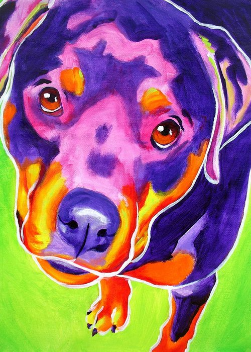 Dawgart Greeting Card featuring the painting Rottweiler - Summer Puppy Love by Alicia VanNoy Call