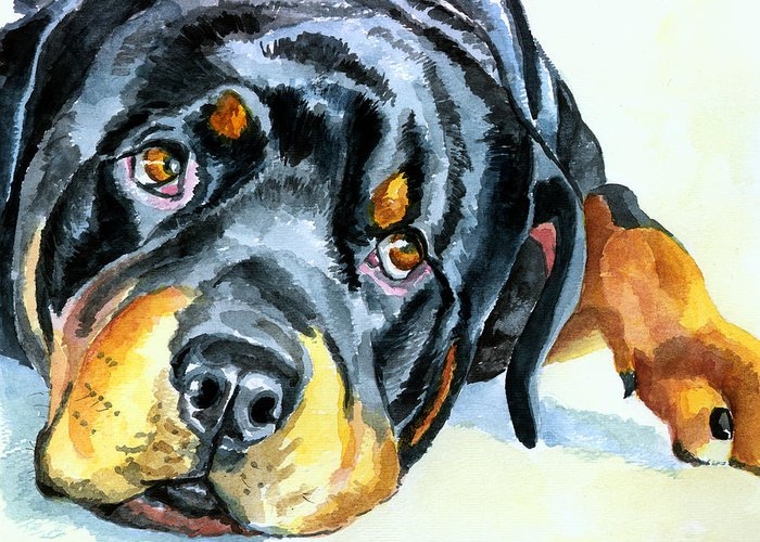 Rottweiler Greeting Card featuring the painting Rottweiler by Lyn Cook