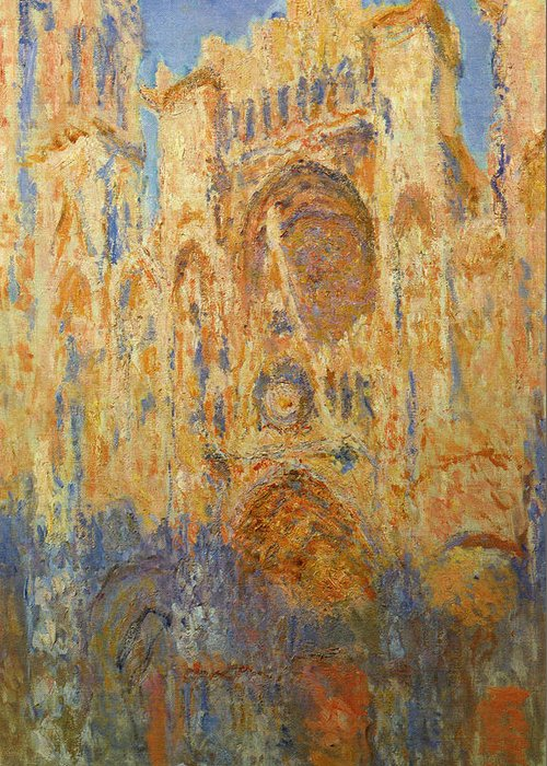 Architectural Greeting Card featuring the painting Rouen Cathedral, Facade, Sunset by Claude Monet