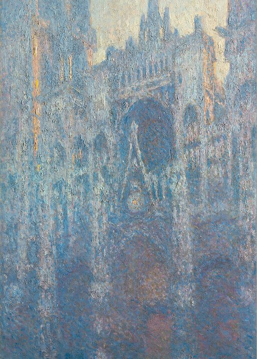 Architectural Greeting Card featuring the painting Rouen Cathedral, The Portal, Morning Light by Claude Monet