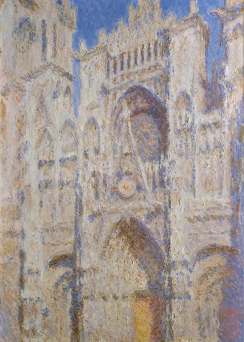 Architectural Greeting Card featuring the painting Rouen Cathedral, The Portal, Sunlight by Claude Monet