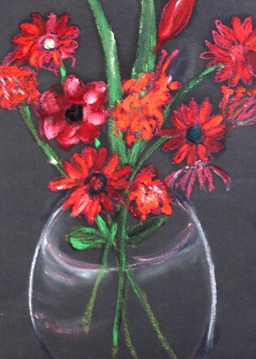 Still Life Greeting Card featuring the painting Rouge Et Noir by Michela Akers