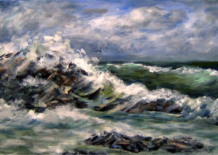 Seascape Greeting Card featuring the painting Rough Sea Today by Lorna Skeie