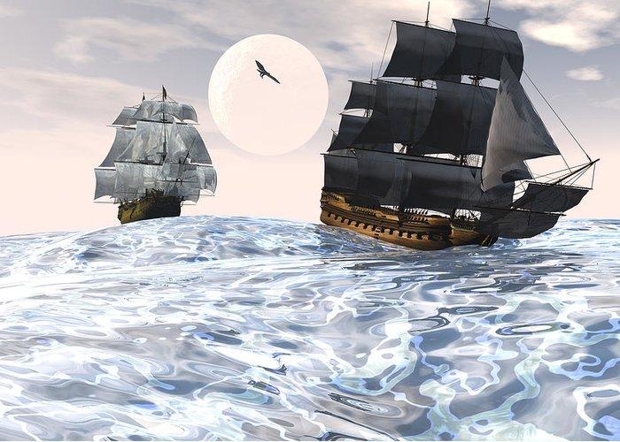 Bryce 3d Scifi Fantasy tall Ship Windjammer \sailing Ship\ Sailing Greeting Card featuring the digital art Rough Seas by Claude McCoy