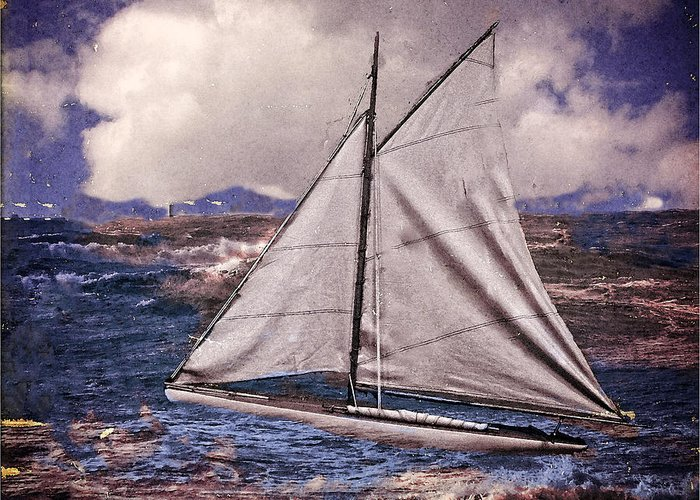 Abstract; Sailing; Boat; Sailboat; Storm; Rough Seas; Color Greeting Card featuring the photograph Rough Seas by Kenneth Clinton