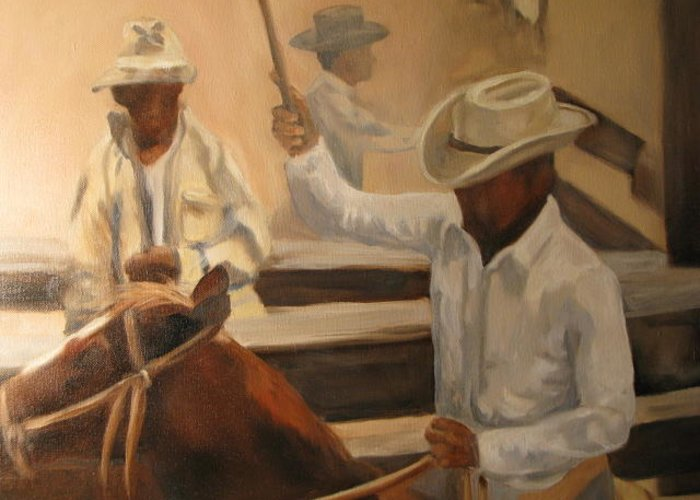 Horses Greeting Card featuring the painting Round Up by Donna Thomas
